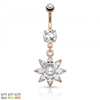 Stylish belly ring with pearl and gems