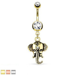 Dangling elephant belly button piercing