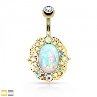 XL belly piercing with opal shield and rainbow crystals