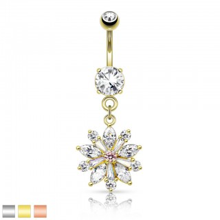 Belly bar with big flower shaped crystal