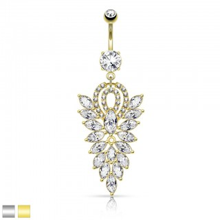 Belly button piercing with large crystal chandelier