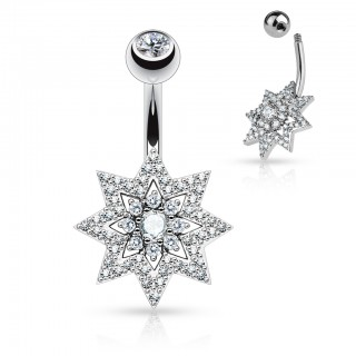 Belly ring with crystal sun