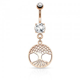 Rose gold belly bar with Norse Tree of Life filigrane