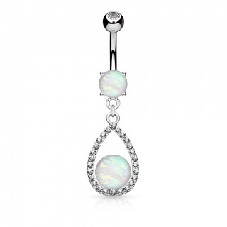 Belly piercing with opal in crystal Tear Drop dangle