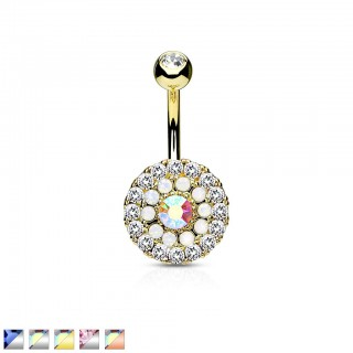 Belly ring with circle of coloured crystals