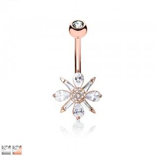 Belly bar with clear crystals shaped as flower