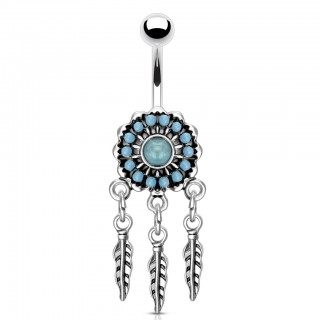 Belly bar with dream catcher and turquoise stones