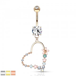 Double jeweled encased dangling heart opal stone belly bar
