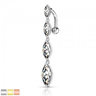 4 marquise crystal drops reverse belly bar