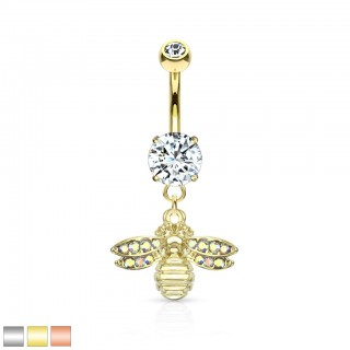 Belly bar with dangling aurora borealis bee