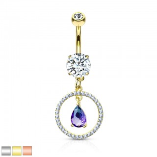 Belly bar with dangling circle and purple pear crystal