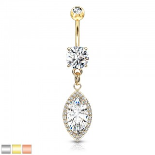 Coloured belly bar with clear marquise drop crystal