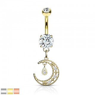 Dangling belly bar with crystal paved crescent