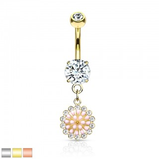 Belly bar with dangling crystal trimmed pink enamel flower