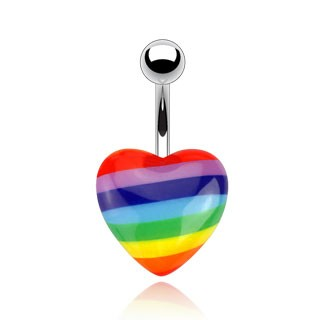 Belly bar with rainbow striped heart