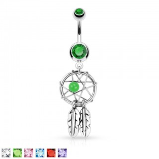 Belly bar with two feathers on dream catcher and crystals