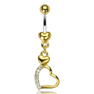 Belly button bar with gold hearts and ball