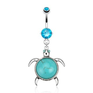 Belly bar with sea turtle and turquoise stone