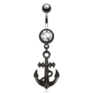 Belly piercing with black anchor dangle