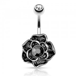 Belly bar with black vintage flower and black crystal