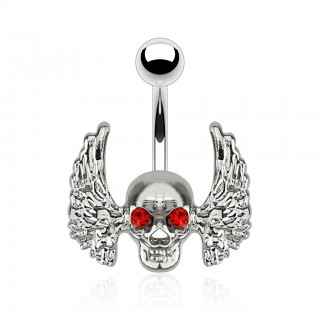 Belly bar with red-eyed skull and angel wings