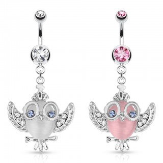 Belly bar with dangling owl and crown
