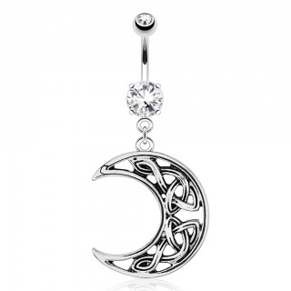 Belly button ring with crescent moon dangle