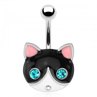Belly button ring with black/white cat
