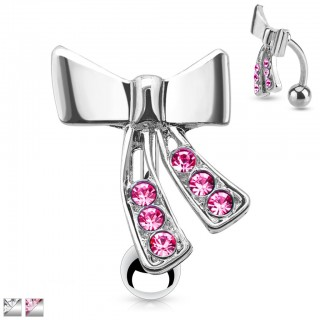 Reverse belly bar with crystallised ribbon