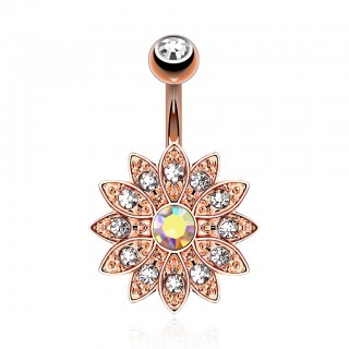 Rose gold belly button piercing with flower of gemstones