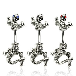Belly button ring with salamander