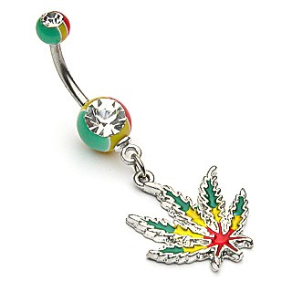 Jamaican coloured belly bar with weed leaf