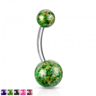 Belly bar with antique coloured balls