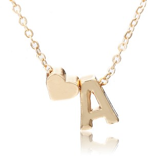Gold coloured necklace with small initial and heart dangle