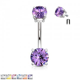 Coloured internally threaded belly bar with coloured crystals