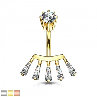 Coloured belly bar with reversed crown of crystals