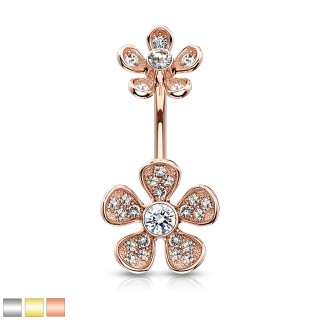 Internally threaded belly bar with crystal paved flower
