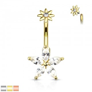 Belly bar with internally screwed marquise crystal flowers
