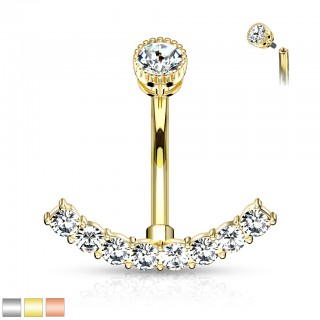 Anchor shaped belly bar with internally screwed top