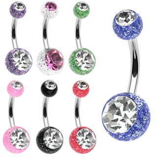 Belly button ring with glitter balls and diamonds