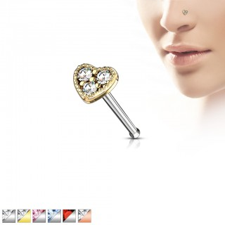 Nose stud with coloured crystals in heart top