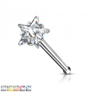 Nose bone with coloured prong set star crystal