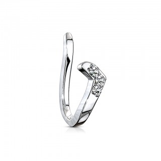 Clip on piercing ring with small chevron line of crystals