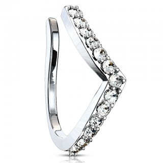 Clip on piercing ring with chevron line of crystals