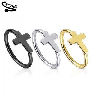 Cross decorated surgical steel nose ring piercing