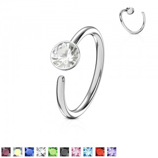 Piercing ring with flat crystal