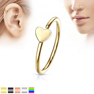 Coloured piercing hoop with small love heart