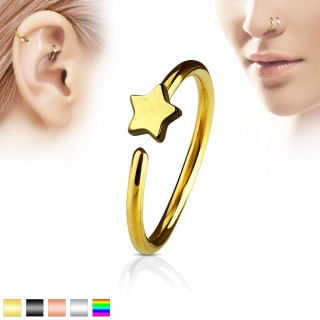 Coloured piercing hoop with small star