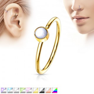 Bendable nose hoop ring with shiny stone