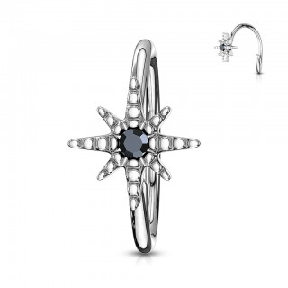 Nose ring with black crystal in centre of star